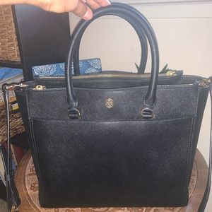 Tory Burch Robinson Double Zip Leather Tote